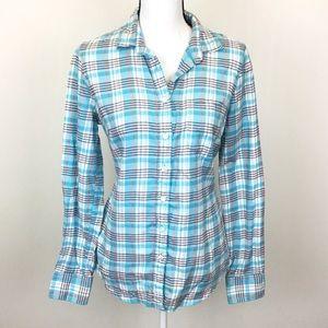 J. Crew Blue Plaid Classic Button Down in Flannel